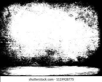 Prison cell black white background. Grunge empty wall and floor texture. Distressed room template. Horror interior 3d illustration. Shadow rough frame.