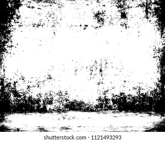 Prison cell distressed empty background. Grunge wall and floor texture. Old basement template. Horrific studio 3d illustration.