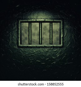Prison cell door , barred window , dramatic lighting, Penitentiary