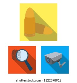 Prison and the criminalflat icons in set collection for design.Prison and Attributes bitmap symbol stock web illustration.