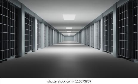 Prison interior. Jail cells