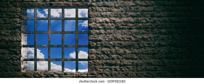 Prison, jail window with rusty bars and blue sky view on brick wall background. Banner, space for text. 3d illustration