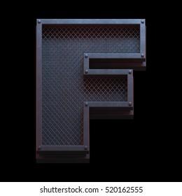 Prison metal font. 3d rendering
