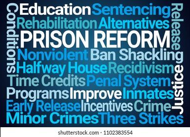 Prison Reform Word Cloud on Blue Background