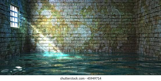 prison walls in water