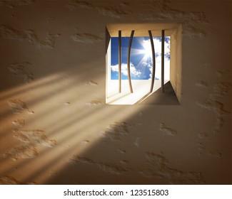 Prison window. Freedom concept