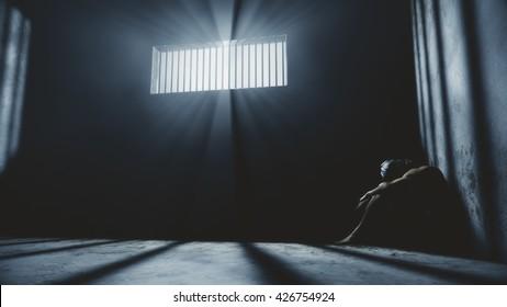 Prisoner in Bad Condition in Demolished Solitary Confinement under Lightrays 3D Illustration