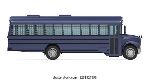 Prisoner Transport Bus Isolated. 3D rendering