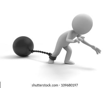 The prisoner/burden/ A people dragging a heavy metal ball