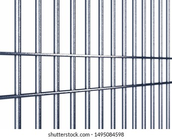 Prison/jail cell bars isolated on white, Prisons are integral part of the criminal justice system, 3d illustration