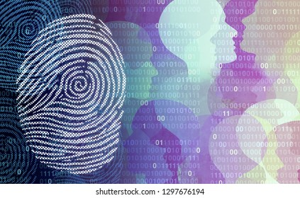 Privacy data security user private user information as an abstract personal profile technology with a personal finger print as a social media and public profile in a 3D illustration style.