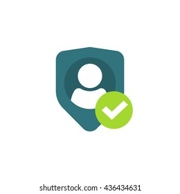 Privacy icon, flat shield with person silhouette symbol, personal protection sign, authentication security icon, secure confidentiality label image
