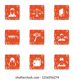 Privacy icons set. Grunge set of 9 privacy icons for web isolated on white background