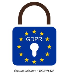 Privacy regulation  European flag with text GDPR and 25.05.2018