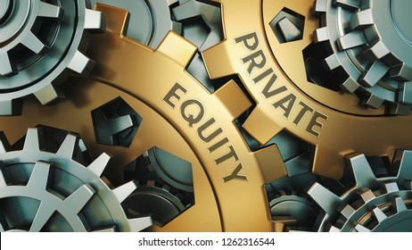 PRIVATE EQUITY concept. Gold and silver gear wheel background illustration. 3d render.