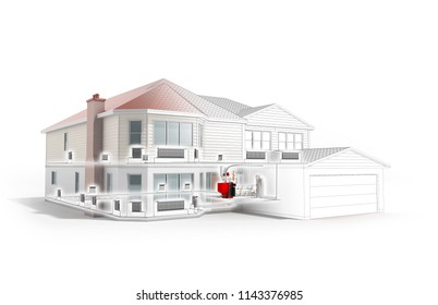 private house heating system building concept 3d render on white