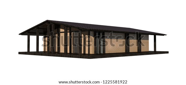 private house, modern style, glass, wood, chalet, 3d illustration
