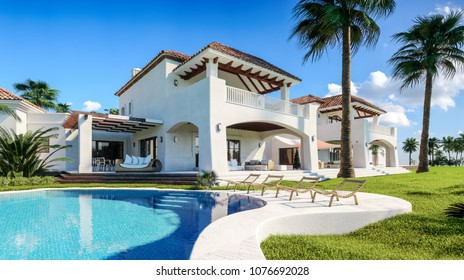 Private house with pool and palm trees in oriental style. 3d illustration.