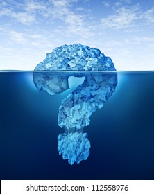 Private information hidden insider knowledge and secret personal or business data as a submerged iceberg in the shape of a question mark for internet encryption security or illegal trading .