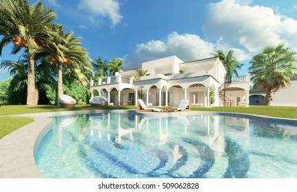 Private luxury Villa with Swimming Pool and palms