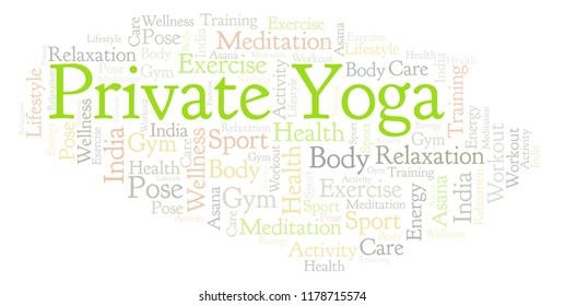 Private Yoga word cloud.
