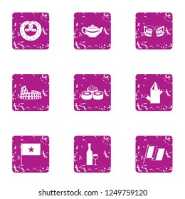 Privilege icons set. Grunge set of 9 privilege icons for web isolated on white background