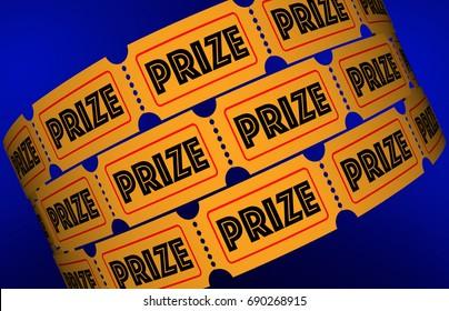 Prize Big Jackpot Win Award Raffle Tickets 3d Illustration