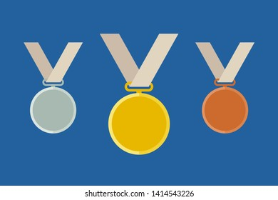 Prize medals with ribbons. Flat icon of medal templates from gold, silver and bronze.