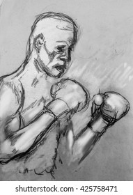Prizefighter portrait drawing of a boxer in black and white