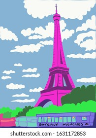 Pro photo of the Pink Eiffel Tower and its Bateaux Mouches in Paris France