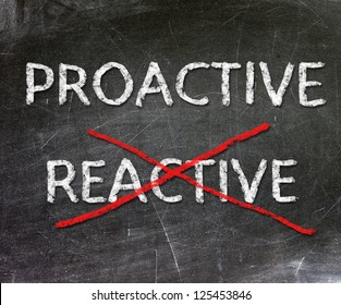 Proactive and Reactive handwritten with white chalk on a blackboard.