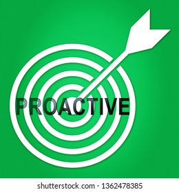 Proactive Vs Reactive Target Representing Taking Aggressive Initiative Or Reacting. Taking Charge Versus Late Action - 3d Illustration