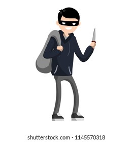 The problem with city security is the guy with the knife. A robber with a bag of money. Threat to life. The man is a blackguard in a black mask and hoodies - Cartoon flat illustration