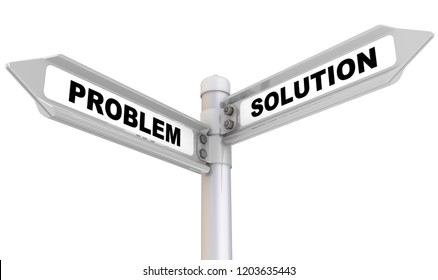 Problem and solution. Way mark. Road sign with black words PROBLEM and SOLUTION. Isolated. 3D Illustration