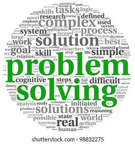 Problem solving concept in word tag cloud on white background