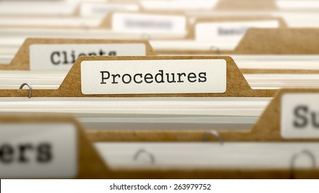 Procedures Concept. Word on Folder Register of Card Index. Selective Focus.