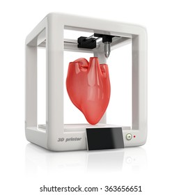process of creating human hearts using 3D printer, illustration isolated on white background