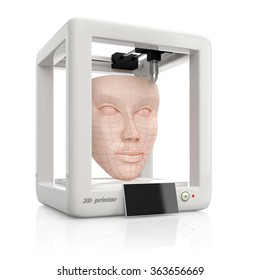 process of creating human skin face using 3D printer, illustration isolated on white background