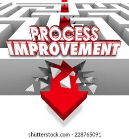 Process Improvement 3d words on an arrow breaking through maze walls to illustrate changing procedures for greater efficiency