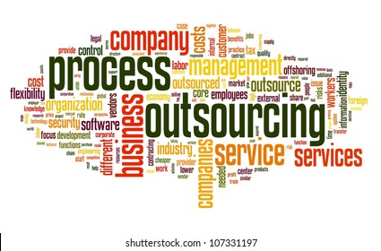 Process outsourcing concept in word tag cloud on white background