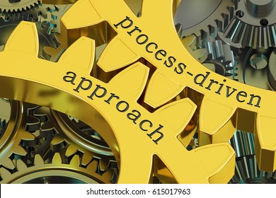 process-driven approach concept on the gearwheels, 3D rendering