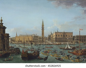 Procession of Gondolas in the Bacino di San Marco, Venice, by Antonio Joli, 1742-60, Italian painting, oil on canvas. Gilded gondolas start up the Grand Canal with the heart of Venice as a backdrop