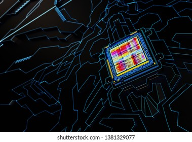 Processor Abstract Background. Technology Concept. 3D illustration