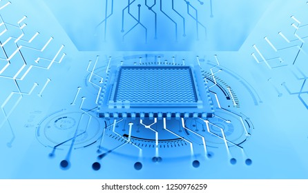 Processor of the future. Concept of global cyberspace. Innovations in computer nanotechnology. 3D illustration of an abstract microchip