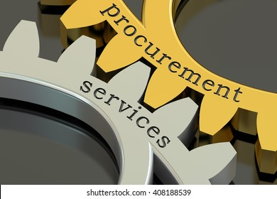Procurement Services concept on the gearwheels, 3D rendering