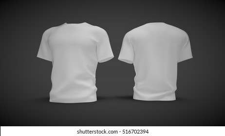Procurement of t-shirts on a neutral background in front and back; 3D illustration; 3D rendering