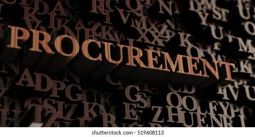 Procurement - Wooden 3D rendered letters/message.  Can be used for an online banner ad or a print postcard.