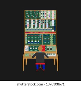 A producer sitting in front of a big moog style modular synthesizer. This is a very specific 2D illustration design I made for people who need content related to synthesis or sound-design.