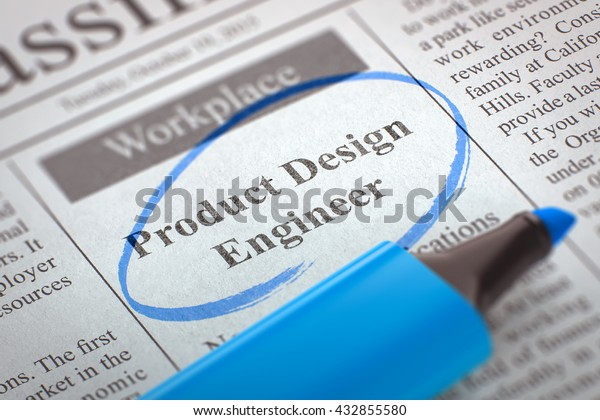 Product Design Engineer Advertisements Classifieds Ads Business Finance Technology Stock Image