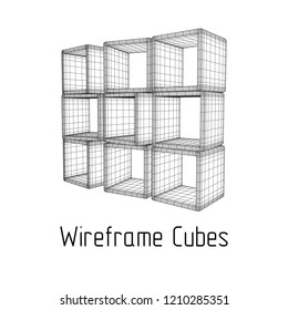 Product display boxes. Wireframe mesh . Platform or Stand Illustration. Template for Object Presentation 3d render.